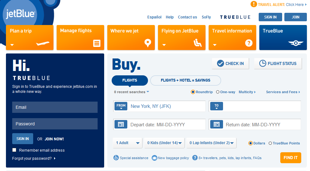JetBlue is having a sale for flights this Fall with prices starting at $49 one way. This JetBlue sale is going on through end of day tomorrow, Wednesday October 31st for travel November 1, through February 14, (black out dates: 11/ & 12//9/18).